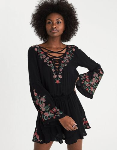 a59f4b4b1ed9 AMERICAN EAGLE OUTFITTERS Womens Black L S Lace-Up Embroidered Romper S NEW