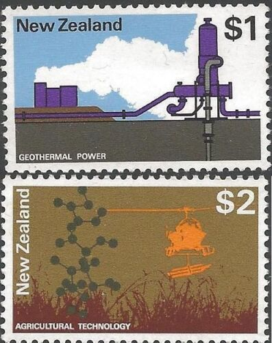 New Zealand 1971 $1, $2  GEOTHERMAL POWER, ARGRICULTURAL TECHNOLOGY MUH SG 933-4