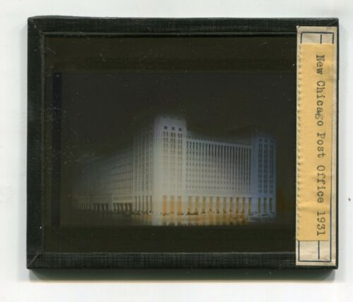 RARE Glass Slide CHICAGO NEW POST OFFICE 1931 at night