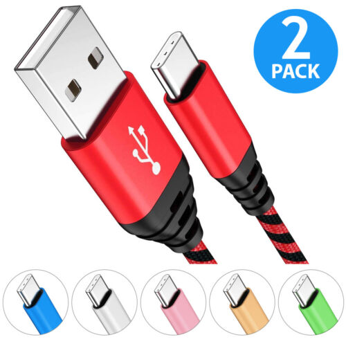 2-PACK Nylon Braided USB-C 3.1 Type-C Data Sync FAST Charger Charging Cable Cord