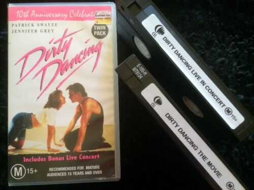 DOUBLE VHS LIVE CONCERT DIRTY DANCING & MOVIE 10TH ANNIVERSARY PATRICK SWAYZE