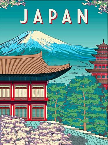 Mt. Mount Fuji Japan Japanese Asia Asian Retro Travel Art Poster Print