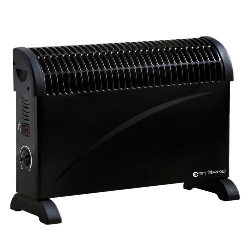 Large Electric Heater Black 2000W 3 Heat Portable Convection Panel Thermostat <br/> GENUINE STARKE BRAND AUSTRALIAN APPROVED & AUST STOCK