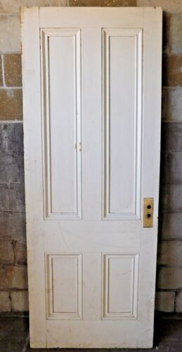 Antique Italianate 7' Tall Four Panel Door - C. 1860 Fir Architectural Salvage