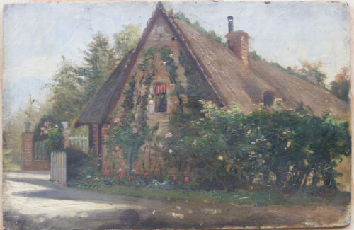 c.1880 antique French countryside cottage landscape oil painting France