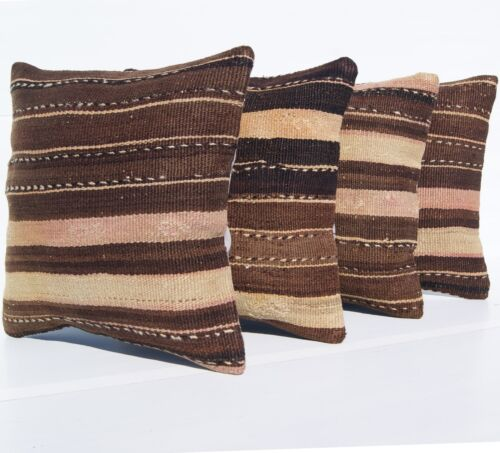 """HAND WOVEN KILIM PILLOW COVERS 16""""X16"""" SQUARE WOOL TURKISH DECORATIVE AREA RUGS"""