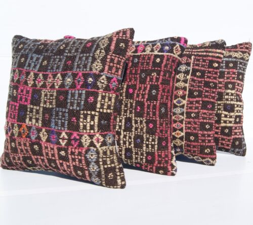 """RUG CUSHION HAND WOVEN 4 KILIM PILLOWS 16"""" SQUARE WOOL TURKISH VINTAGE AREA RUGS"""