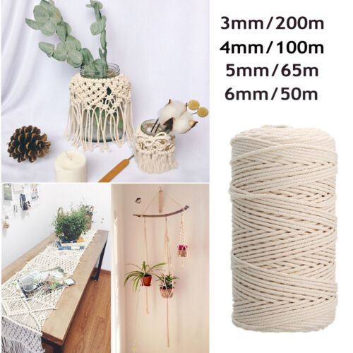 3/4/5/6mm Macrame Rope Natural Beige Cotton Twisted Cord Artisan Hand Craft  NEW <br/> ✔Premium Quality ✔1000+ Sold ✔AU STOCK FREE SHIPPING