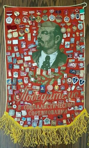 Big collection of 160 Soviet USSR Medals & pin badges + Pennant Banner Flag