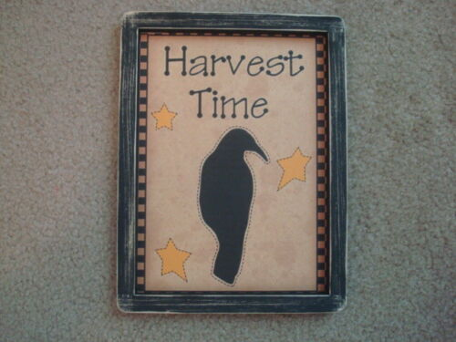 """Primitive Country Print *HARVEST TIME WITH CROW* black frame 9"""" x 12"""""""