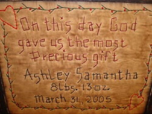 "Primitive Country Personalized ~BIRTH SAMPLER~ Stitchery 12"" x 9 1/2"""