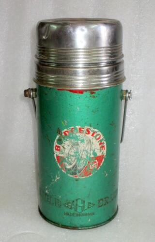 Vintage Old Collectible Eagle Mark Green Color Metal Hot Thermos Made In Japan