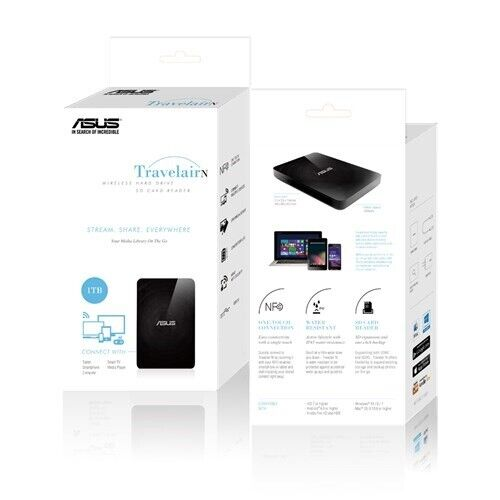 ASUS Travelair N (WHD-A2) 1TB Wireless HDD / SD Card Reader PC MAC Phone F43