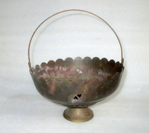 Vintage Old India Brass Carved Basket With Handle Fruit Candy Dish Collectible