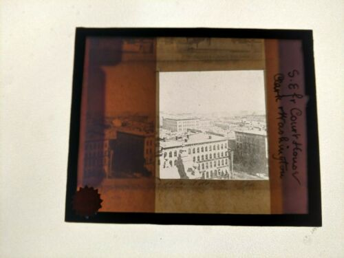 RARE Glass Slide CHICAGO Pre-Fire view from Courthouse at Washington & Clark