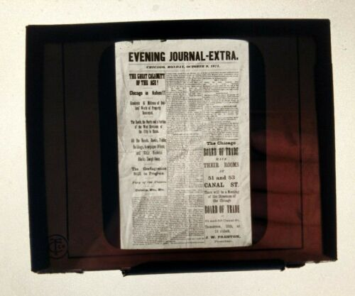 RARE Glass Slide CHICAGO FIRE 1871 Evening Journal Newspaper front page