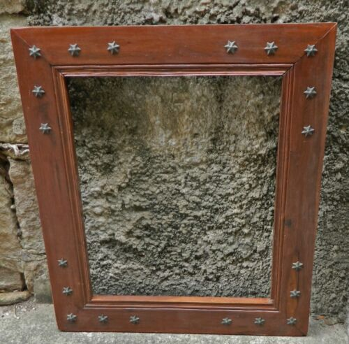 VINTAGE Timber Picture Frame with Metal Star Studs