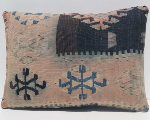 """20""""x14"""" COUCH PILLOW CASE TURKISH WOOL RECTANGLE BLUE HANDWOVEN AREA RUGS 20+"""