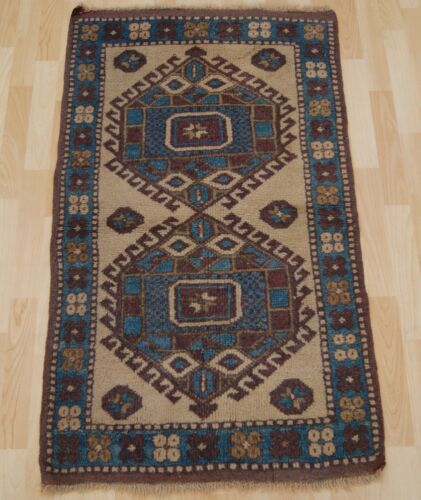 AZTEC RUG TURKISH RUG HAND KNOTTED CARPET RECTANGLE WOOL 30+ BLUE AREA RUG 2X4ft