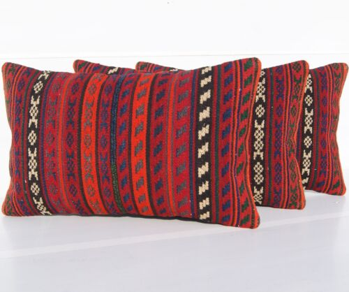 """STEEP STRIPED KURDISH PILLOW COVER WOOL RECTANGLE HAND WOVEN AREA RUGS 20""""x12"""""""