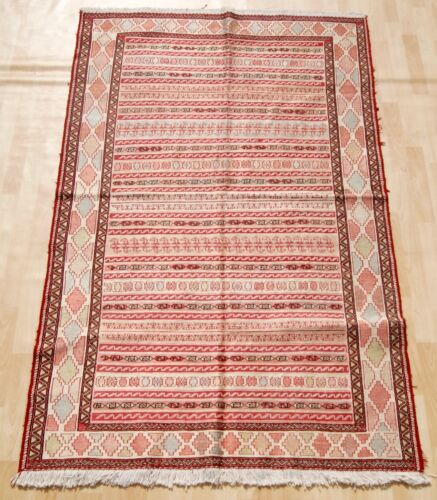 MULTI COLORED RECTANGLE EMBROIDERED SUMMAKH RUG WOOL 20+ AREA RUGS 4X6ft