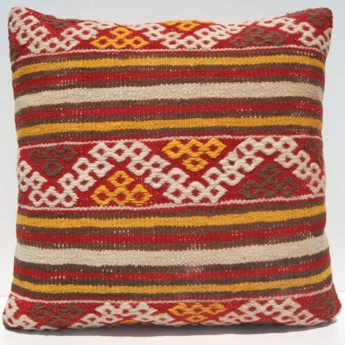 """24""""X24"""" EMBROIDERED PILLOW CASE TURKISH SQUARE WOOL YELLOW KILIM AREA RUGS 20+"""
