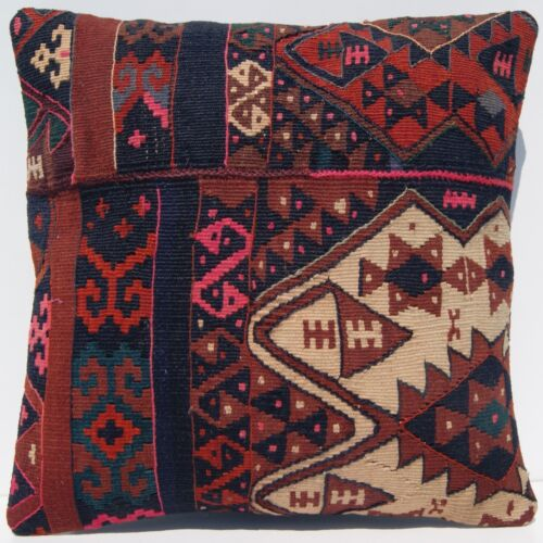 """18""""X18"""" SEAT PILLOW URBAN KURDISH SQUARE WOOL HAND WOVEN RED OLD AREA RUGS 40+"""