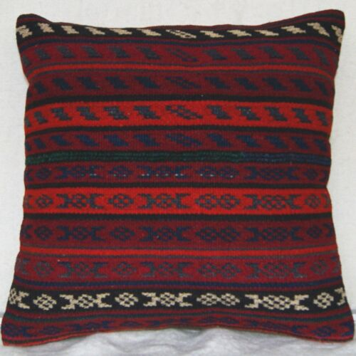 """16x16"""" EMROIDERED PILLOW COVER WOOL OLD KURDISH CASE SQUARE HAND WOVEN AREA RUGS"""