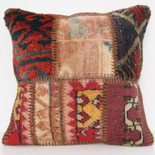 """PATIO PILLOW CASE WOOL SQUARE 30+ BEIGE TURKISH PATCHWORK AREA RUGS 16""""x16"""""""