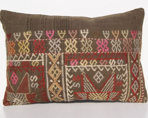 """VINTAGE PILLOW COVERS TURKISH WOOL RECTANGLE HAND WOVEN KILIM AREA RUGS  24""""x16"""""""