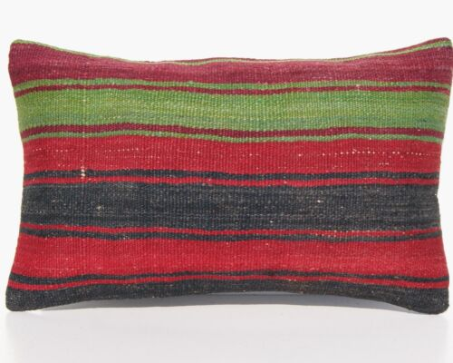 """ROOM DESIGN PILLOW COVER TURKISH WOOL RECTANGLE HAND WOVEN AREA RUGS 20""""x12"""""""