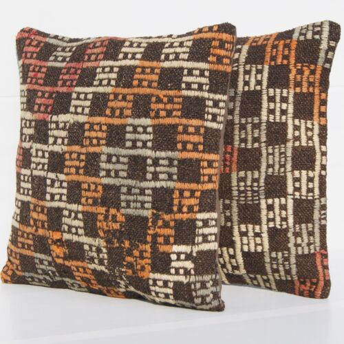 """EMBROIDERED PILLOWS HANDMADE TURKISH KILIM RUG SQUARE WOOL BROWN AREA RUGS 18"""""""