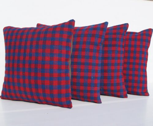 """PLAID 4 PILLOWS HAND WOVEN TURKISH BLUE KILIM RUGS SQUARE WOOL AREA RUGS 18""""X18"""""""