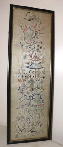 antique 1800's hand embroidery silk ornate Qing dynasty needlepoint art tapestry