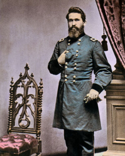 "MAJOR GENERAL JAMES G BLUNT CIVIL WAR 1862 8X10"" HAND COLOR TINTED PHOTOGRAPH"