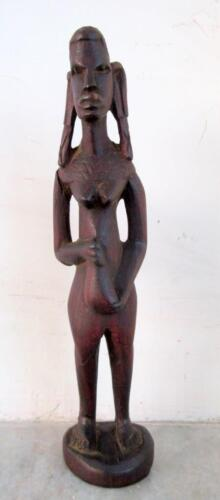 Old Hand Carved Rose Wood Antique Primitive African Tribal Lady Figure Folk Art