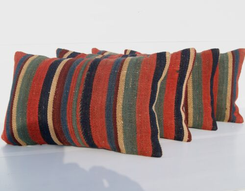 """HOME LIVING PILLOW COVER KURDISH WOOL RECTANGLE HANDWOVEN FOUR AREA RUG 20""""x12"""""""