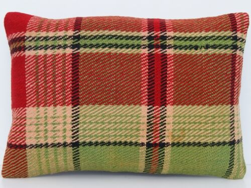 """20""""x14"""" RUG PILLOW COVER TURKISH WOOL GREEN RECTANGLE HAND WOVEN AREA RUGS 20+"""