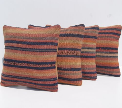 """CUSHION PILLOW COVERS KURDISH SQUARE 30+ RED HAND WOVEN KILIM AREA RUGS 10""""X10"""""""