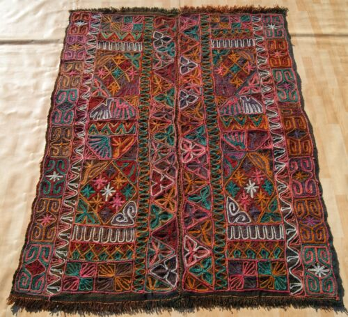 EMBROIDERED KILIM RUG ARABIC WOOL HAND WOVEN RECTANGLE GREEN 30+ AREA RUGS 5X7ft