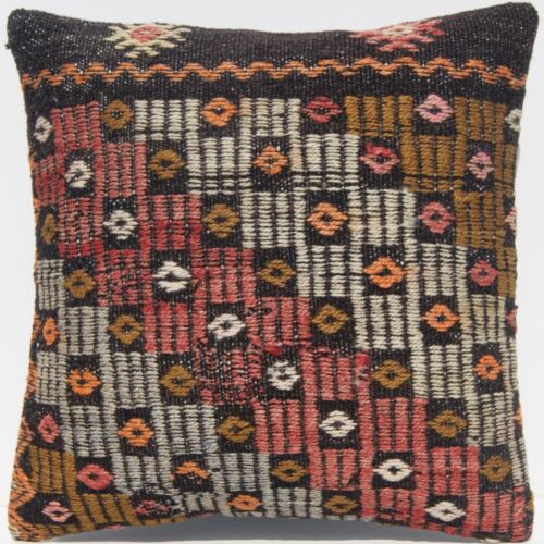 """16""""x16"""" EMBROIDERED PILLOW CASE TURKISH WOOL SQUARE BLACK HANDWOVEN AREA RUG 20+"""