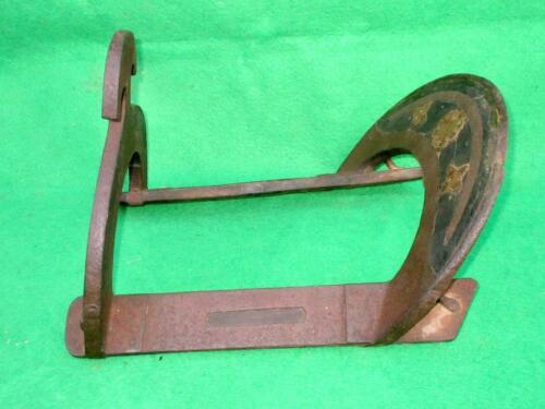 Antique Old Iron Wooden Hand Carved Brass Work Horse Back Seat Seating Chair