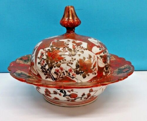 Antique Chinese, Japanese Lidded Bowl, Hand painted