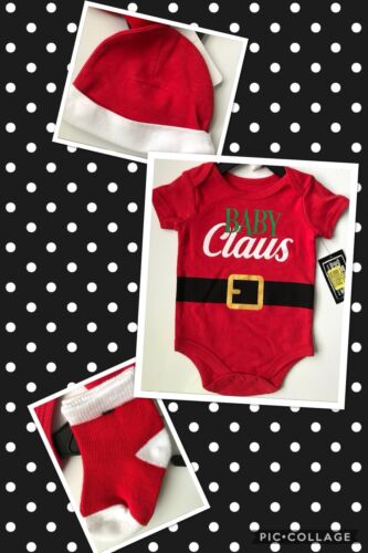 Babies with Attitude 3pc. Baby Claus Set Red Bodysuit Christmas Outfit 3 6 9 Mos