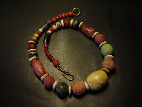 ANTIQUE TIBETAN NEPAL ETHNIC CLAY BEADED & AGATE NECKLACE, Circa: 1900's.
