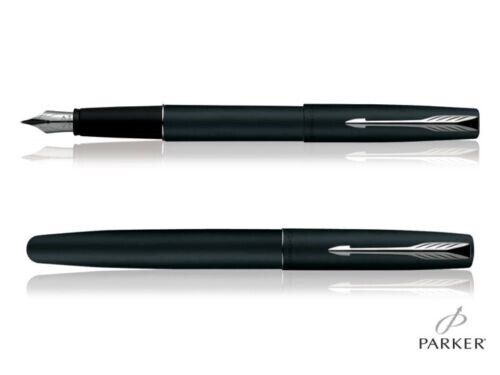 PARKER FRONTIER MATTE BLACK FOUNTAIN PEN CHROME TRIM Free ink and Gift box