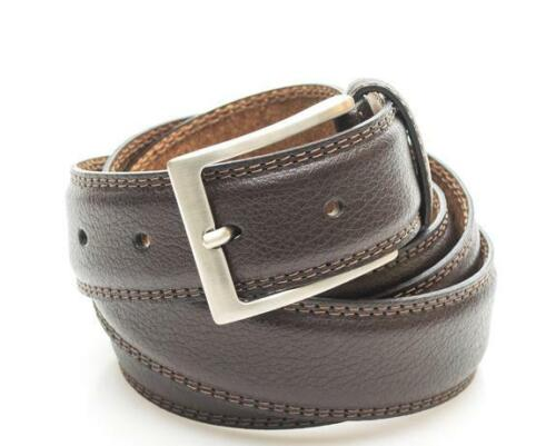cintura uomo Timberland classic double solid color stitched leather belt h cocoa