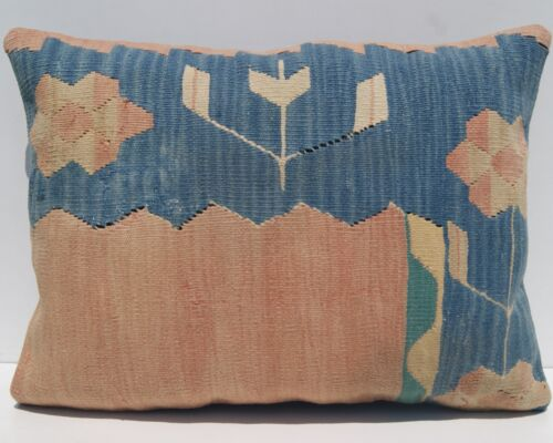 """24""""x18"""" HOME DECOR PILLOW COVER WOOL RECTANGLE TURKISH KELIM BLUE AREA RUGS 20+"""