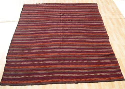 DECORATOR PERSIAN KILIM RUG HAND WOVEN RED SQUARE WOOL 30+ KILIM AREA RUGS 7X8ft
