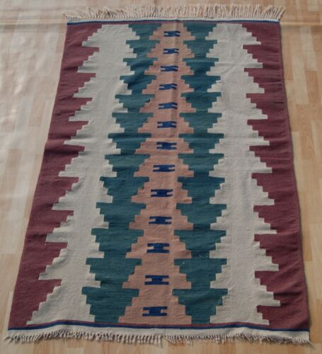 HOME DECORATIVE RUG TURKISH HAND WOVEN 20+ RECTANGLE GREEN WOOL AREA RUG 4X6ft